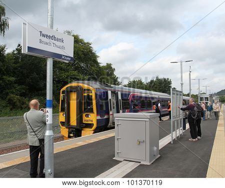 Tweedbank, SCOTLAND - SEPTEMBER 11: Train at Tweedbank station the terminus of the recently opened Borders Railway on September 11, 2015 Tweedbank, Scotland