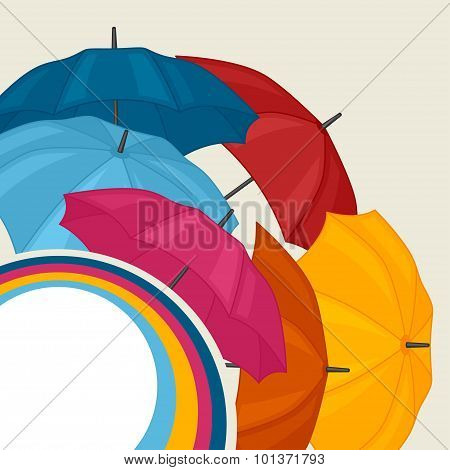 Abstract background with colored umbrellas for greeting card