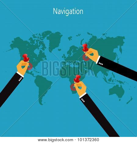 world, map, infographic, navigation, vector illustration in flat design for web sites, Infographic d