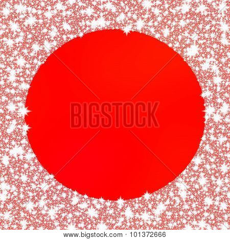 Decorative frozen frame on red monochromatic background