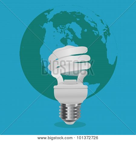 energy saving concept, light bulb in front of world map, vector illustration in flat design for web