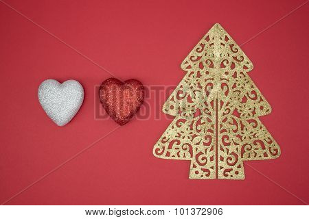 Love Christmas Tree Red Heart Shape Decorate Winter