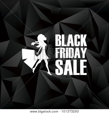 Black friday banner. Low poly design poster background. Fashionable woman shopping and text.