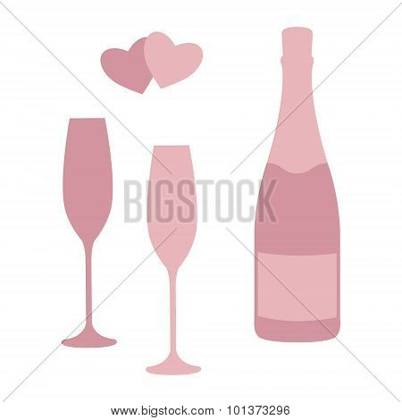 Champagne bottle and glasses.