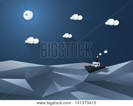 Little steamer on high seas. Night ocean background. Low poly design in 3d.