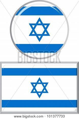 Israeli round and square icon flag. Vector illustration.