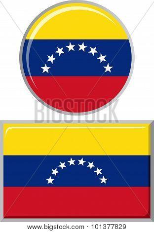 Venezuelan round and square icon flag. Vector illustration.