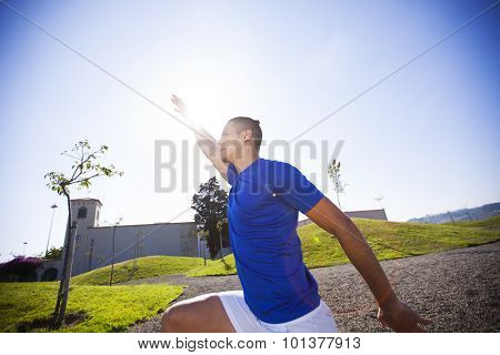 Young man exercising outdoor at Lisbon city