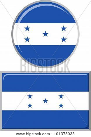 Honduras round and square icon flag. Vector illustration.