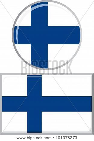 Finnish round and square icon flag. Vector illustration.