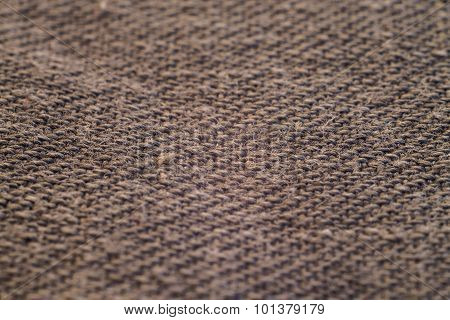 Macro Texture Of Dark Coarse Fabric