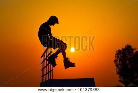 Roller skater silhouette isolated
