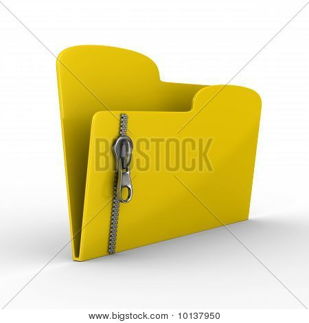 Yellow Computer Folder With Zipper. Isolated 3D Image