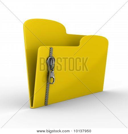 Gelbe Computer Ordner mit Reißverschluss. isolated 3d image