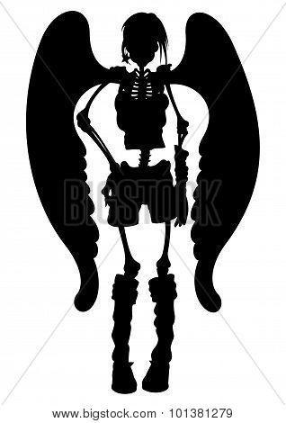 Skeleton Angel Girl Silhouette