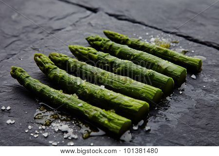 Asparagus With Sea Salt On A Stone Dish