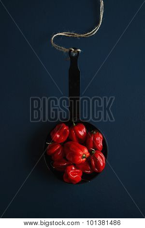 Red Pepper In A Cast-iron Frying Pan