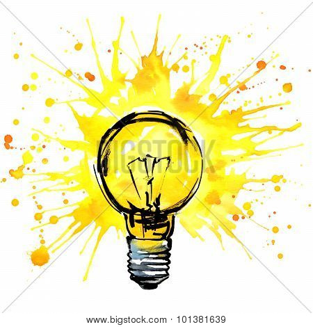 lightbulb idea concept watercolor illustration.  hand drawn sign