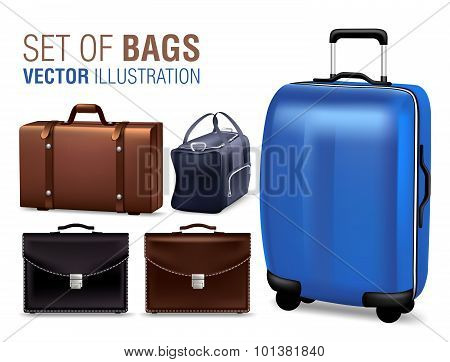 Set of 3D Realistic Traveling Bags and Briefcase for Design Elements