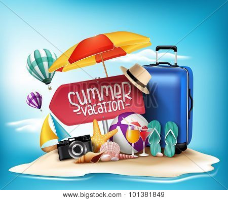 3D Realistic Summer Vacation Poster Design for Travel in a Sand Beach