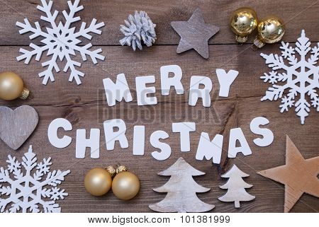 Wooden Background, Merry Christmas And Christmassy Decoration