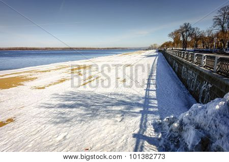 The Volga River and riverwalk in the city of Samara, Russia