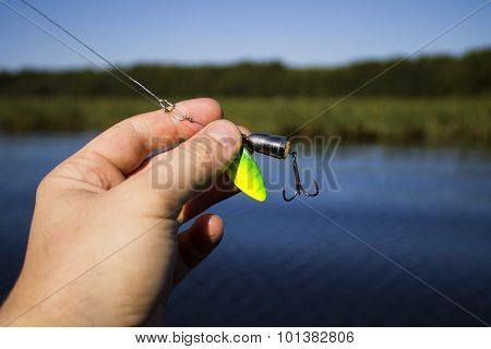 spinner with a triple hook for fishing