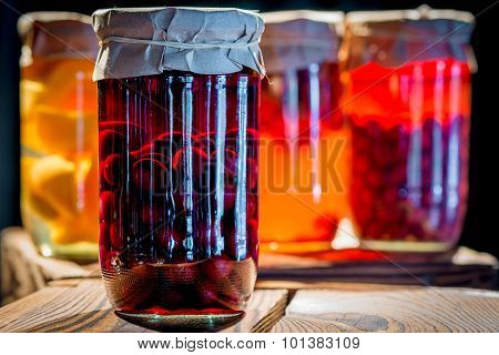 Compote Of Cherries In A Glass Jar Homemade