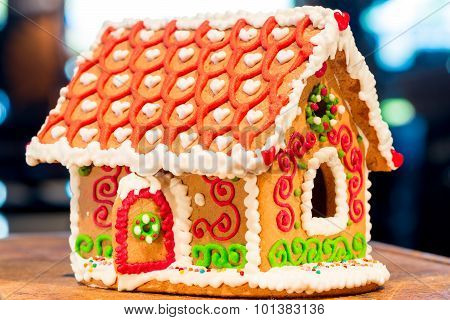 Homemade Gingerbread House Is Photographed Close-up