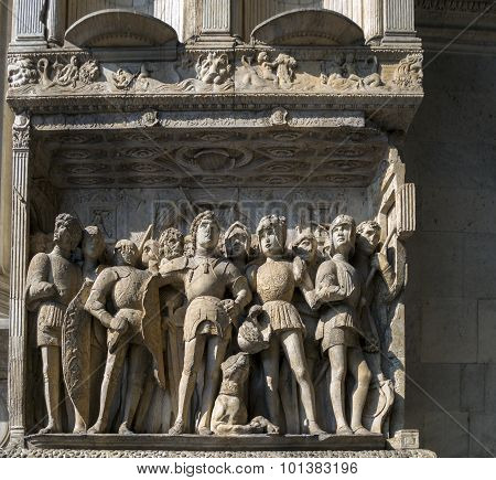 Decorations Of Castel Nuovo In Naples, Italy