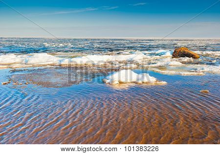 Spring Landscape On The River, Melting Snow On A Sunny Day