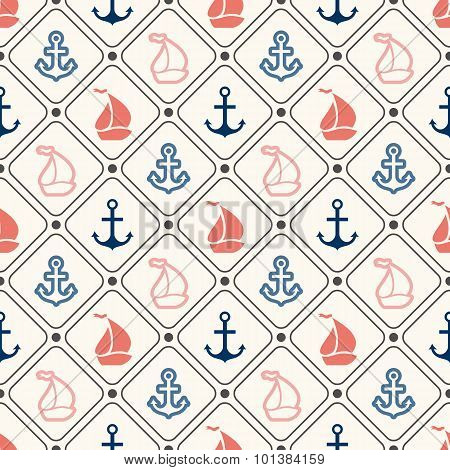 Seamless  pattern of anchor, sailboat shape in frame