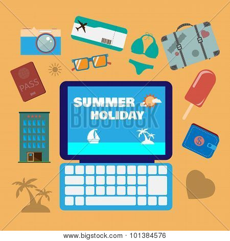 Travel Planning Summer Holiday Icon Set.