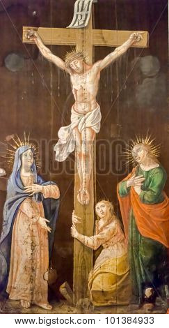 Budva, Montenegro - September 05, 2012: Crucifixion, Blessed Virgin Mary And Saint John Under The Cr