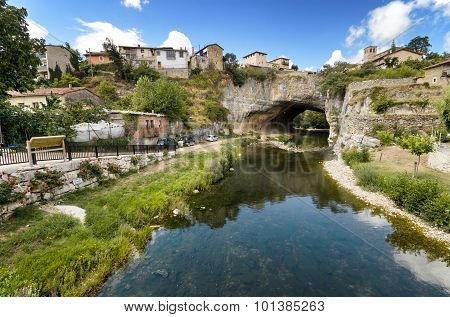 Scenic view of Puentedey famous village in Burgos Spain.