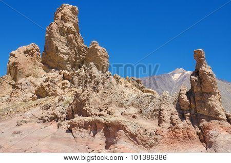 Roques de Garcia famous volcanic landscape in Teide National Park Tenerife Canary islands Spain.