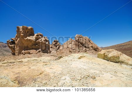 Geological formations famous volcanic landscape in Teide National Park Tenerife Canary islands Spain
