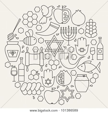 Rosh Hashanah Holiday Line Icons Set Circular Shaped
