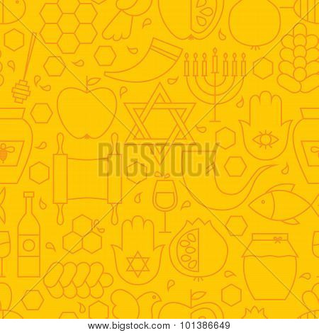 Thin Rosh Hashanah Line Holiday Seamless Yellow Pattern