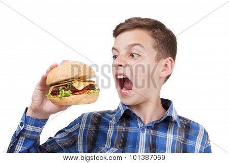 Hungry Boy Wants To Eat A Big Hamburger
