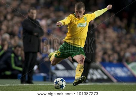 LONDON ENGLAND 23 NOVEMBER 2010. MSK Zilina's forward Tomas Majtan in action during the UEFA Champions League match between Chelsea FC and MSK Zilina, played at Stamford Bridge.