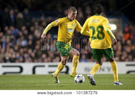 LONDON ENGLAND 23 NOVEMBER 2010. MSK Zilina's forward Tomas Majtan and MSK Zilina's forward Bello in action during the UEFA Champions League match between Chelsea FC and MSK Zilina