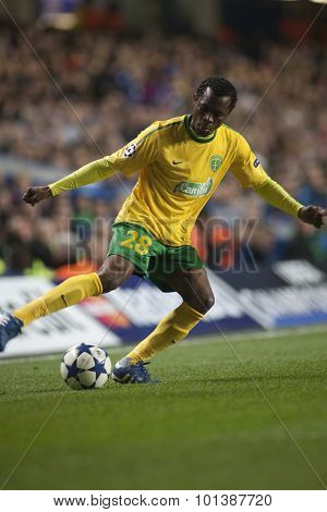LONDON ENGLAND 23 NOVEMBER 2010. MSK Zilina's forward Bello in action during the UEFA Champions League match between Chelsea FC and MSK Zilina, played at Stamford Bridge.