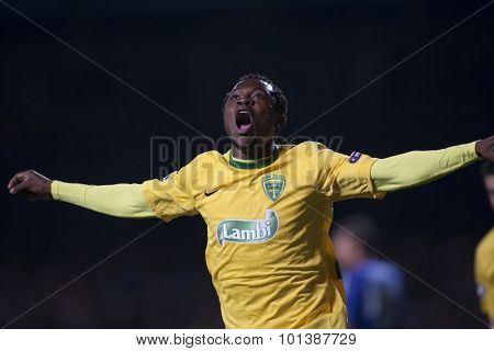 LONDON ENGLAND 23 NOVEMBER 2010. MSK Zilina's forward Bello celebrates scoring during the UEFA Champions League match between Chelsea FC and MSK Zilina, played at Stamford Bridge.