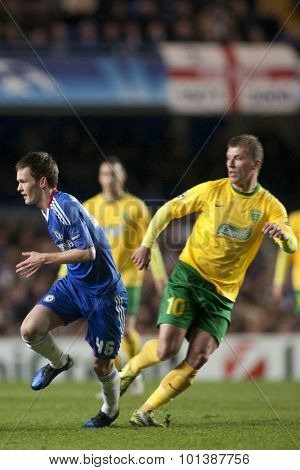 LONDON ENGLAND 23 NOVEMBER 2010. Chelsea's midfielder Josh McEachran and MSK Zilina's forward Tomas Majtan in action during the UEFA Champions League match between Chelsea FC and MSK Zilina