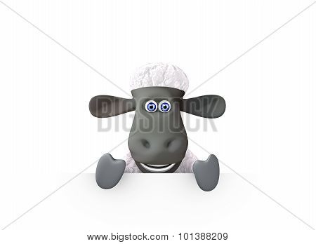 funny sheep showing a bottom blank space