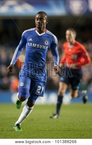 LONDON ENGLAND 23 NOVEMBER 2010. Chelsea's forward Salomon Kalou in action during the UEFA Champions League match between Chelsea FC and MSK Zilina, played at Stamford Bridge.