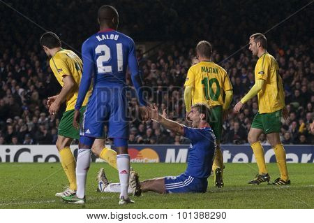 LONDON ENGLAND 23 NOVEMBER 2010. Chelsea's defender Branislav Ivanovic appeals for a penalty during the UEFA Champions League match between Chelsea FC and MSK Zilina, played at Stamford Bridge.