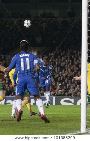 LONDON ENGLAND 23 NOVEMBER 2010. Chelsea's forward Salomon Kalou (21) heads the ball into the penalty area during the UEFA Champions League match between Chelsea FC and MSK Zilina
