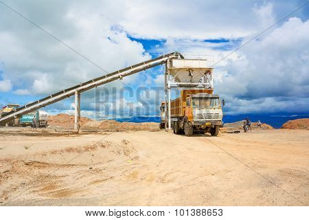 Truck Loading Gravel In Tabnzania.